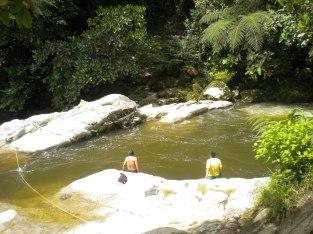 A very brisk swim post jungle hike