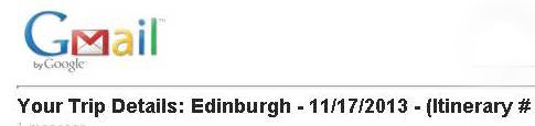 Scotland Itinerary Confirmation