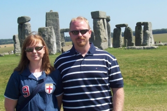 England, Stonehenge, siblings
