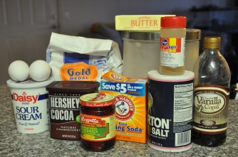 ingredients, baking, chocolate, cherry, cake, recipe