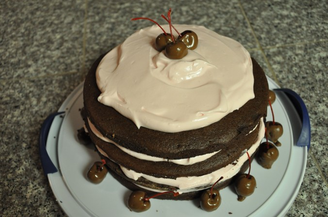 baking, chocolate, cherry, cake, recipe, frosting