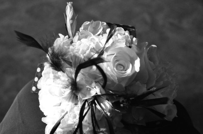 Wedding bouquet, black and white, photography, Arizona