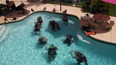 scuba, diving, pool, practice