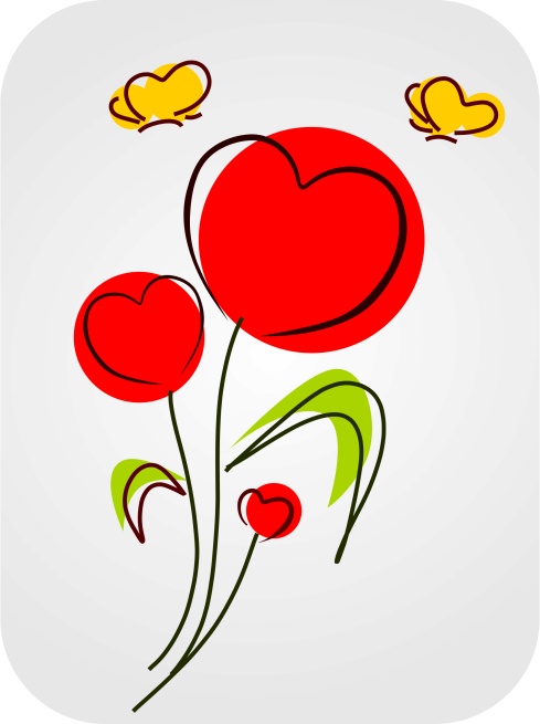 Hearts and Flowers clip art
