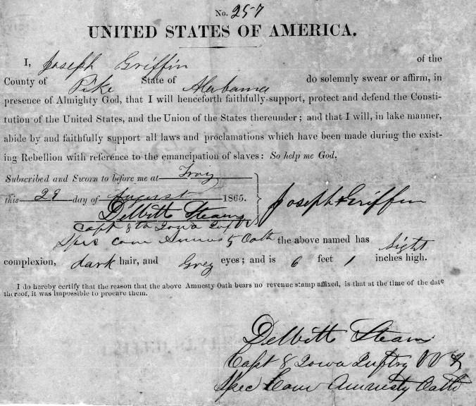 Civil war, amnesty oath, United States, military