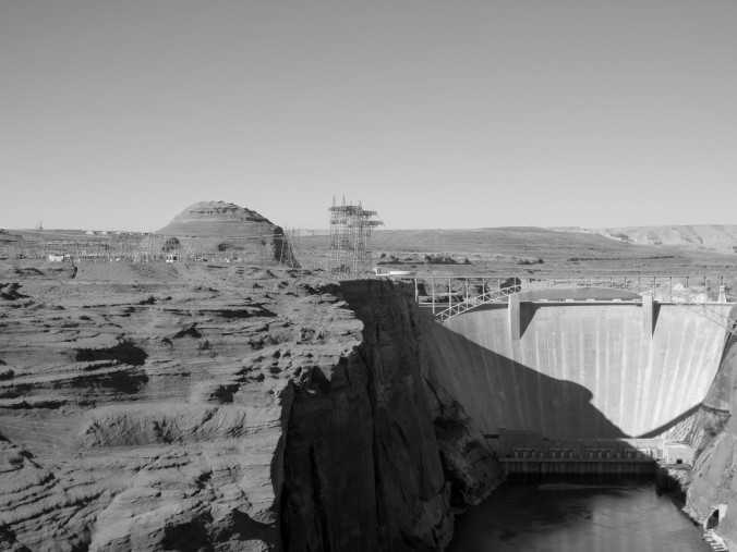 man-made, Lake Powell, Dam, Arizona black and white