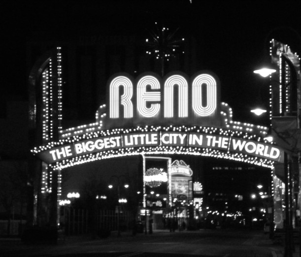 mad-made, black and white, lights, Reno, Nevada