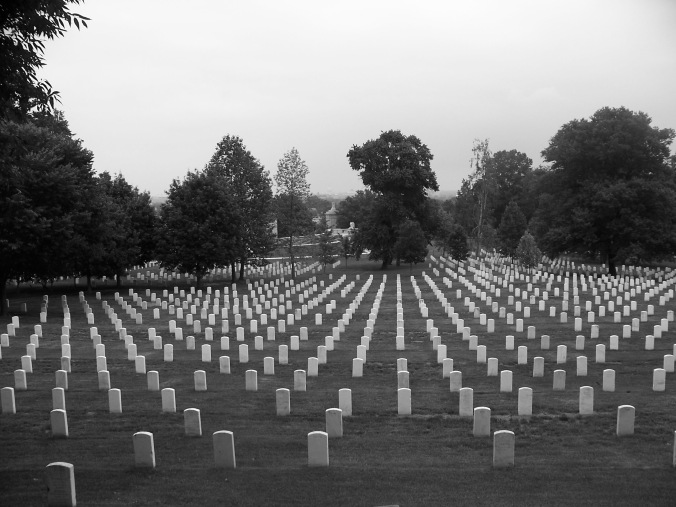 Arlington Cemetery, headstones, black and white