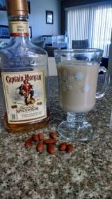 Ingredients, rum, almond milk, maple syrup, vanilla
