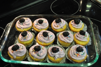 lemon cupcakes, berry cream cheese frosting, recipes, baking