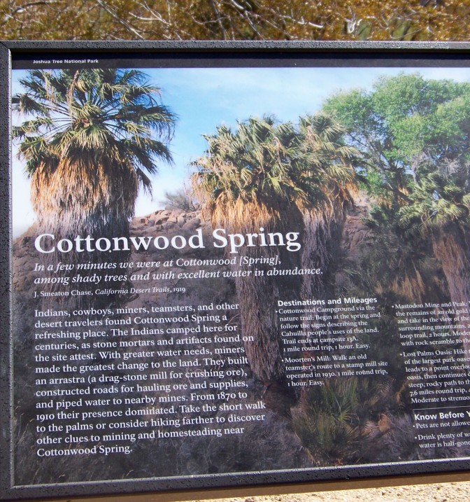 Cottonwoods Spring sign, Joshua Tree National Park, California