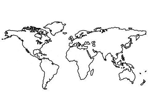 Black and white clipart, world continents