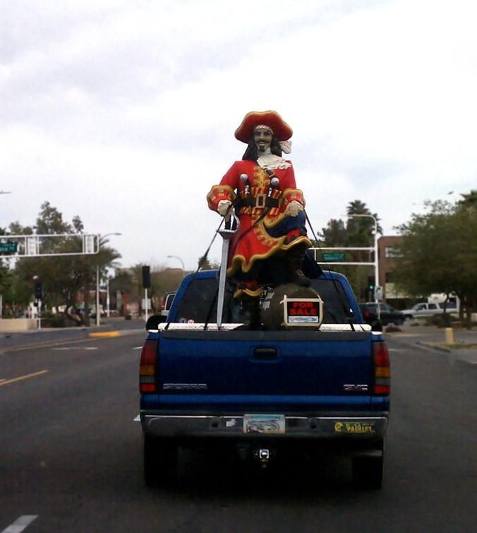 statue truck bed captain morgan