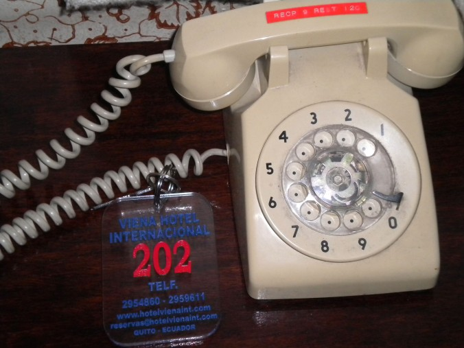 Rotary phone, hotel room key