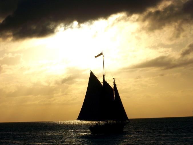Sailboat, Silhouette, Beach
