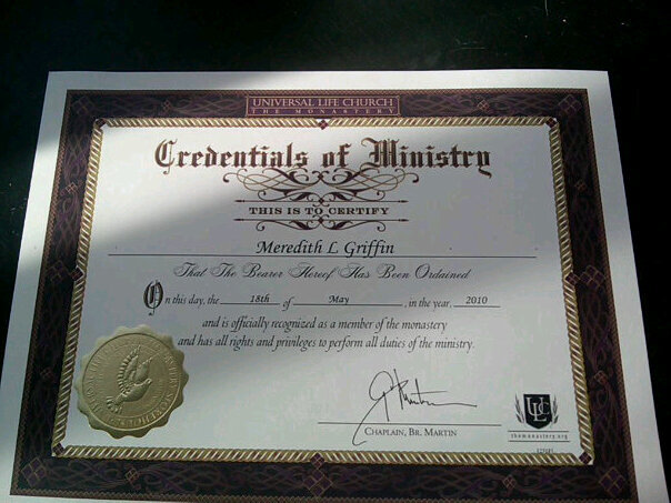 Credentials of Ministry