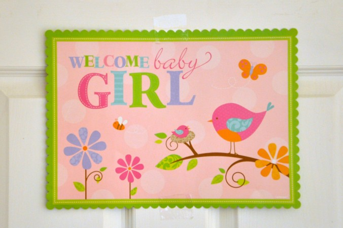 welcome baby girl sign