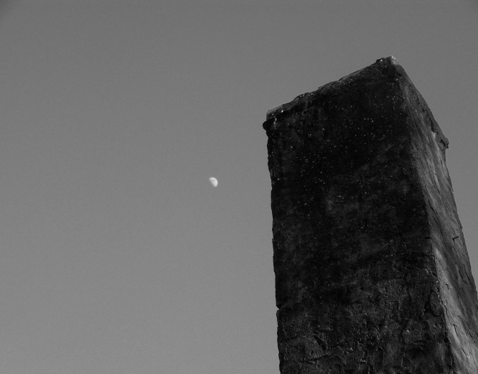 black and white, chimney, moon