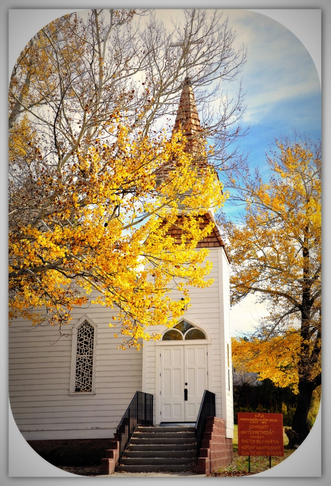 Arizona church fall leaves