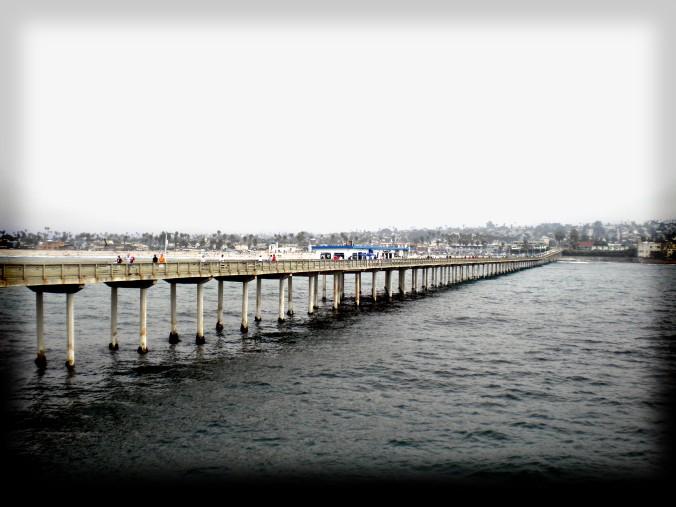 ocean, bridge, California, converge