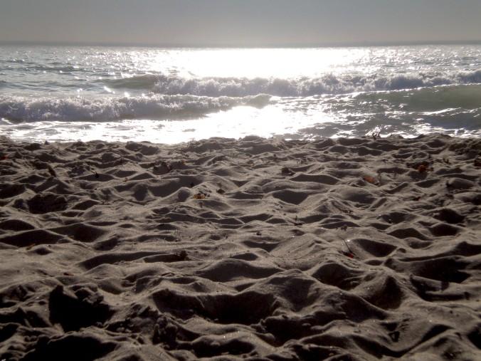 sea, sand, beach, converge