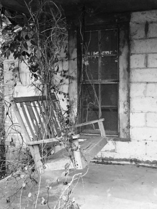 black and white porch swing