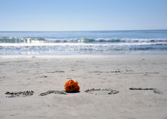 Love and flowers sand beach