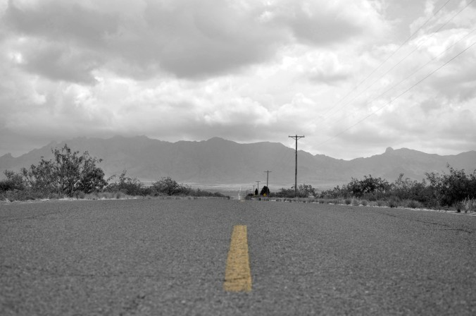 roadway black and white
