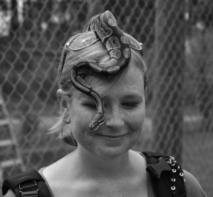 snake on head black and white