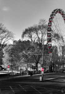 Edinburgh Christmas Festival Ferris Wheel Scotland UK Black and White