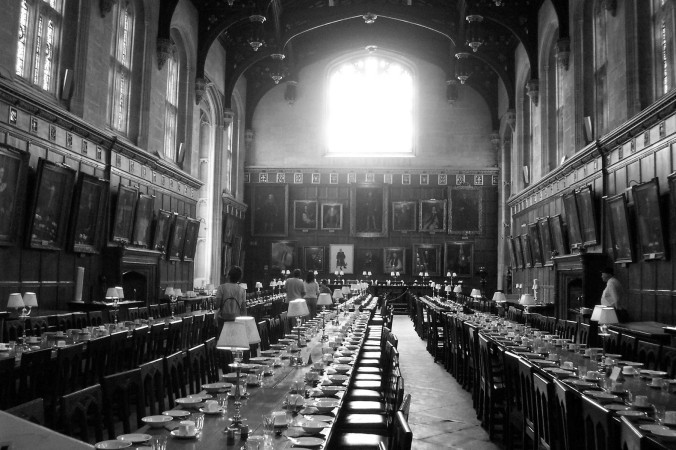Christ Church College Oxford University dining hall black and white