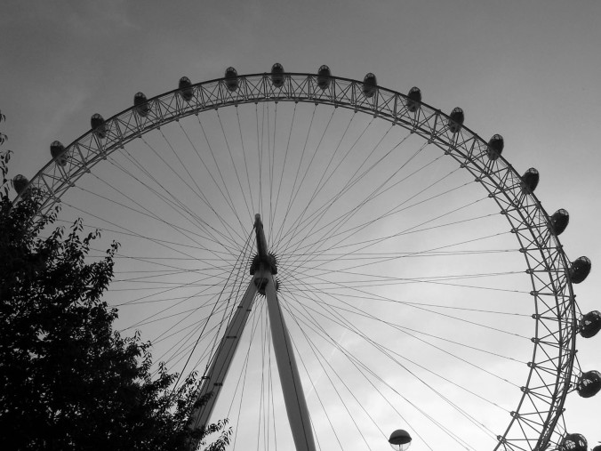 London Eye Ferris Wheel Black and White England UK