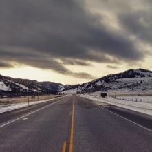 Wyoming sunset road