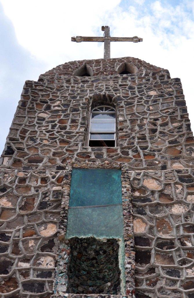 Broken church window southern New Mexico
