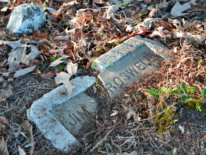 Broken grave marker Jim Roswell Pike County Alabama