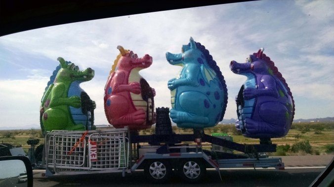 Carnival dragons on the road