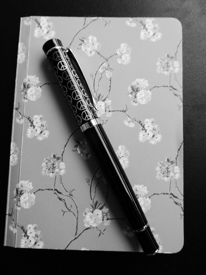 pen on notebook black and white