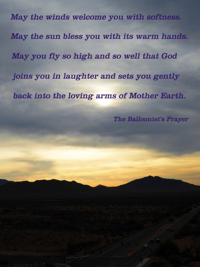 Arizona sunrise, Balloonist's Prayer