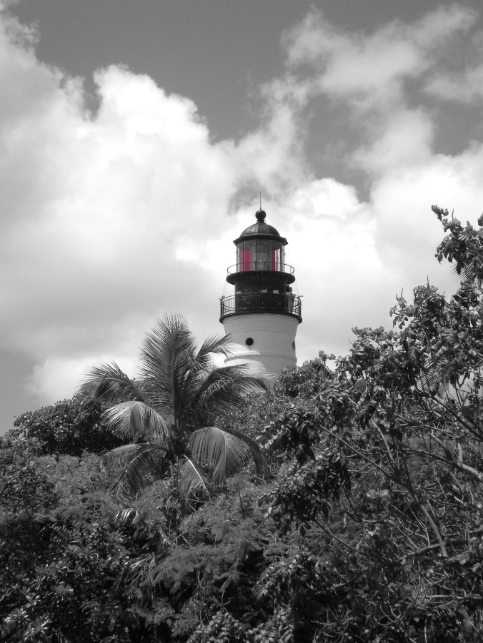 black and white, lighthouse, Key West, Florida