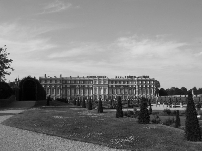 black and white, Hampton Court Palace, England, UK