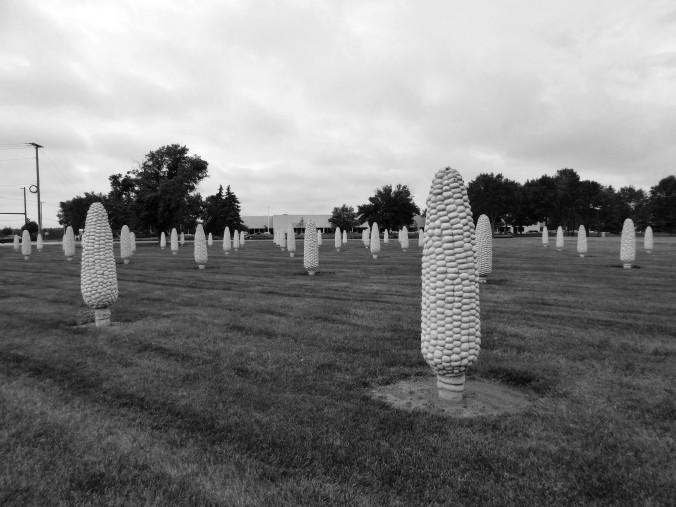 Field of Corn, Dublin Ohio, black and white statue