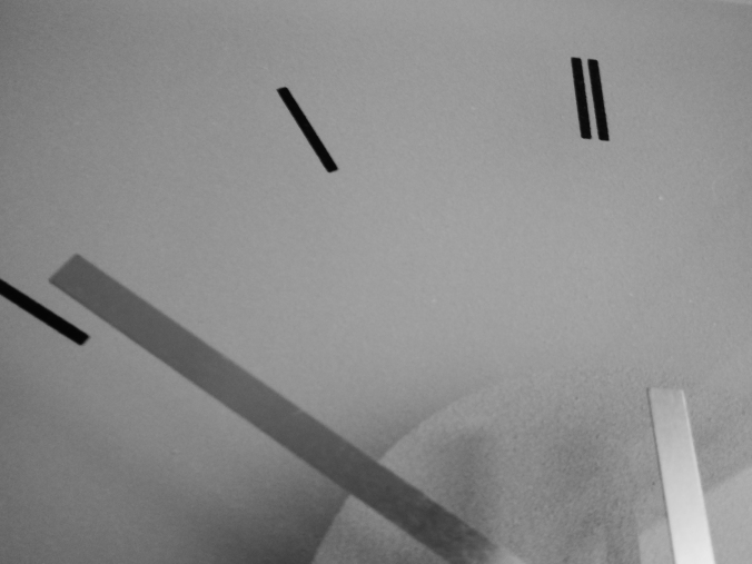 black and white partial clock face