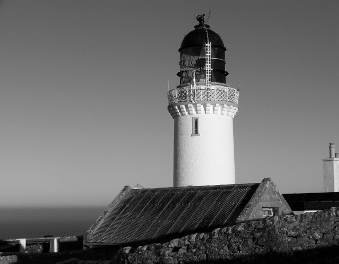 black and white, lighthouse, Scotland, UK