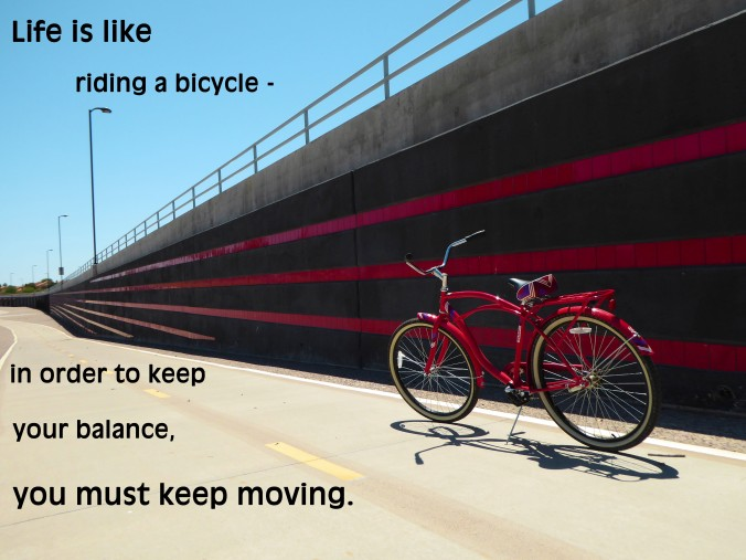 red bicycle, quote