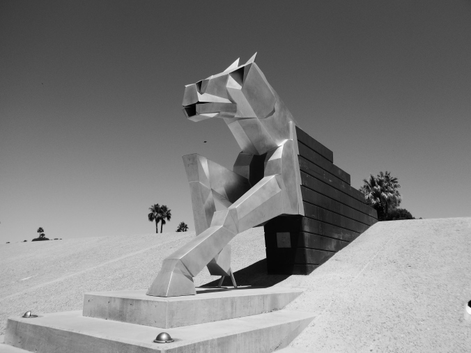 Water Mark, horse statue, Scottsdale, Arizona, black and white