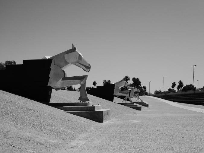 Water Mark, horse statue, Scottsdale, Arizona, black and white