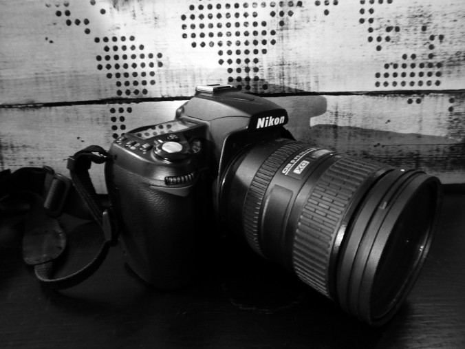 Nikon D90 camera, black and white