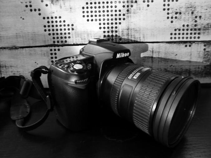 Nikon D90 camera, black and white