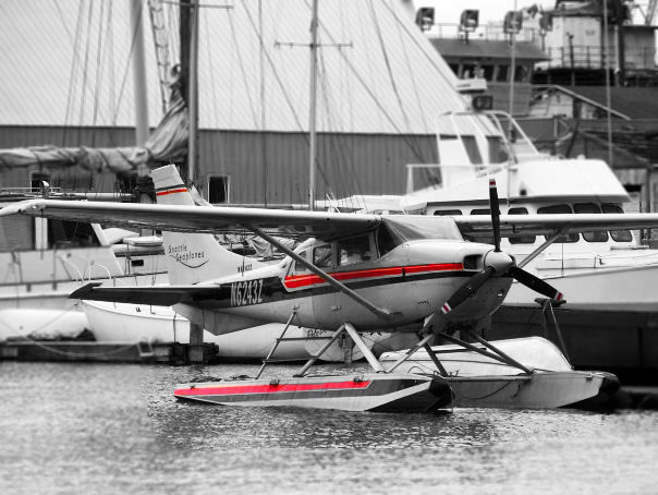 sea plane, Seattle, Washington, black and white