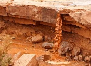 muddy waterfall at Monument Valley Arizona